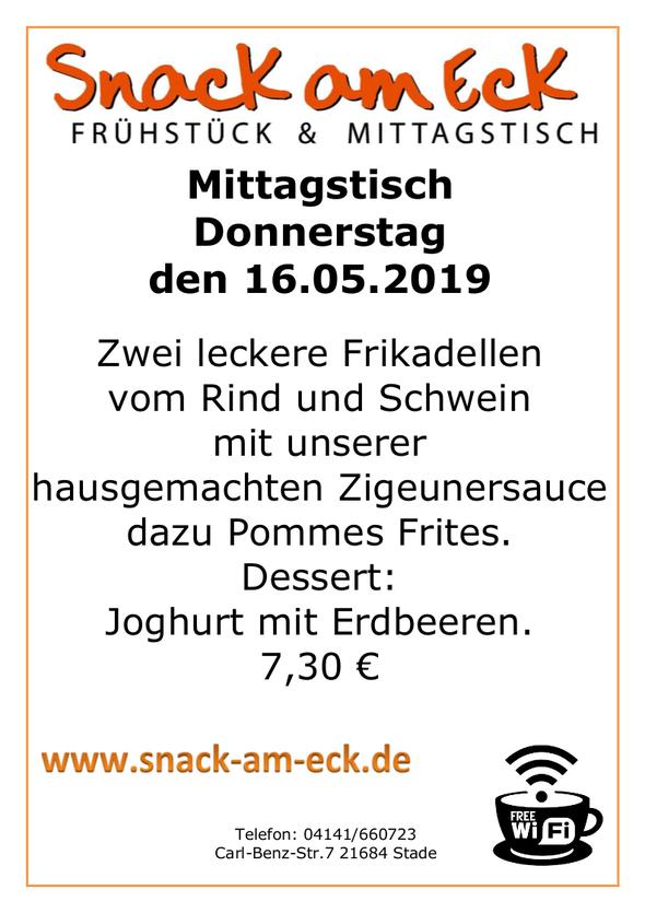 Mittagstisch am Donnerstag den 16.05.2019: Zwei leckere Frikadellen vom Rind und Schwein mit unserer hausgemachten Zigeunersauce dazu Pommes Frites. Dessert Joghurt mit Erdbeeren. 7,30 €