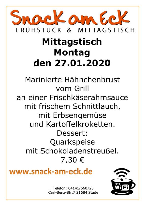 Mittagstisch am Montag den 27.01.2020: Marinierte Hähnchenbrust vom Grill an einer Frischkäserahmsauce mit frischen Schnittlauch, mit Erbsengemüse und Kartoffelkroketten. Dessert: Quarkspeise mit Schokoladenstreußel. 7,30 €