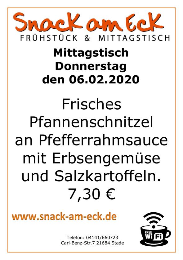 Mittagstisch am Donnerstag den 06.02.2020: Frisches Pfannenschnitzel an Pfefferrahmsauce mit Erbsengemüse und Salzkartoffeln. 7,30 €