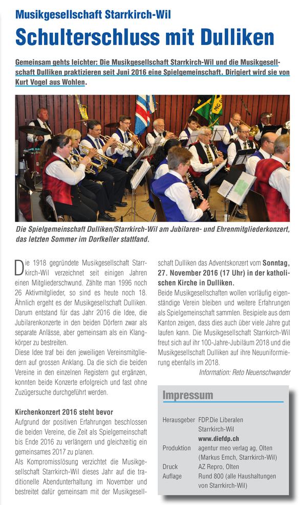 """Artikel auf Seite 4 der """"Dorf-Post"""" (FDP) Starrkirch-Wil (Bild anklicken für Vergrösserung)"""