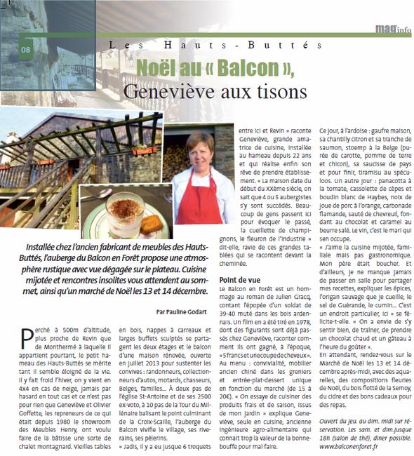 Article de presse sur L'auberge Le Balcon en forêt à Hauts Buttés