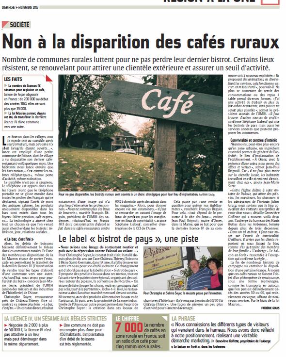 Non à la disparition des cafés ruraux- Ardennais 1/11/15
