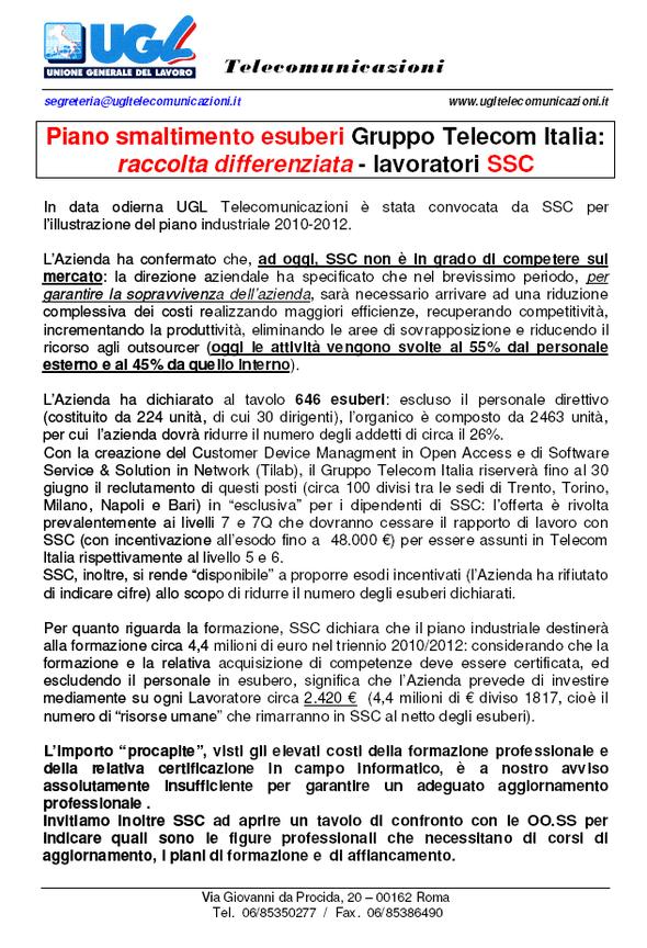 Piano smaltimento esuberi Gruppo Telecom Italia: raccolta ...