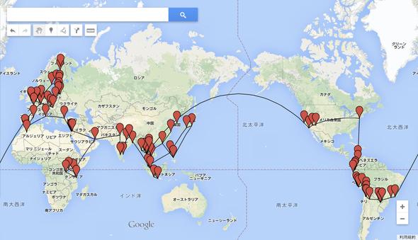 世界一周のルート。314日間で45カ国83都市を回りました。