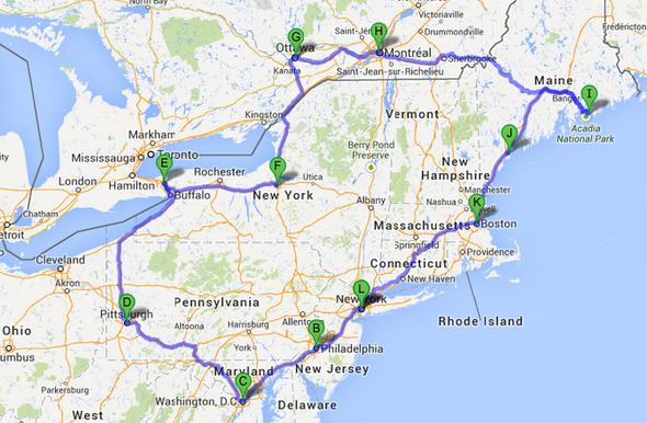 Ostküstenroute (Quelle: google.maps)