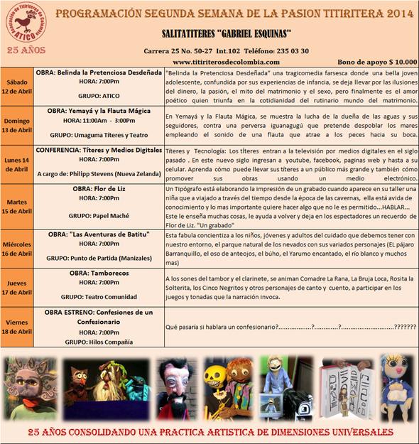 Segunda Semana de la Pasión Titiritera 2014 ATICO 25 AÑOS