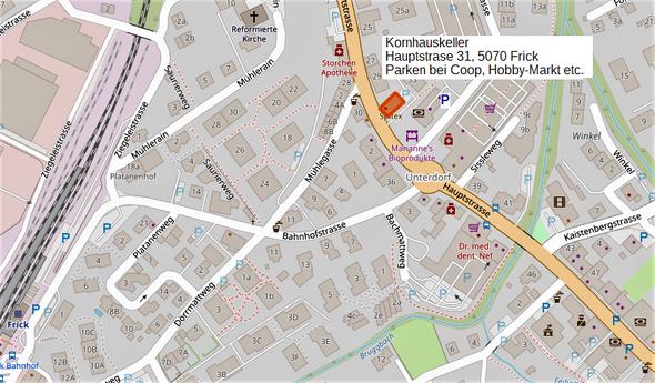 Kornhauskeller Frick, Hauptstr. 31, 5070 Frick, Parken bei Hobby-Markt Coop!