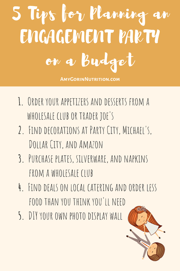 Newly engaged and planning an engagement party on a budget? Is the cost of wedding planning overwhelming you? Consider these money-saving ideas for a party that won't break the bank. #engagementparty #bridetobe #isaidyes #brideonabudget #engaged