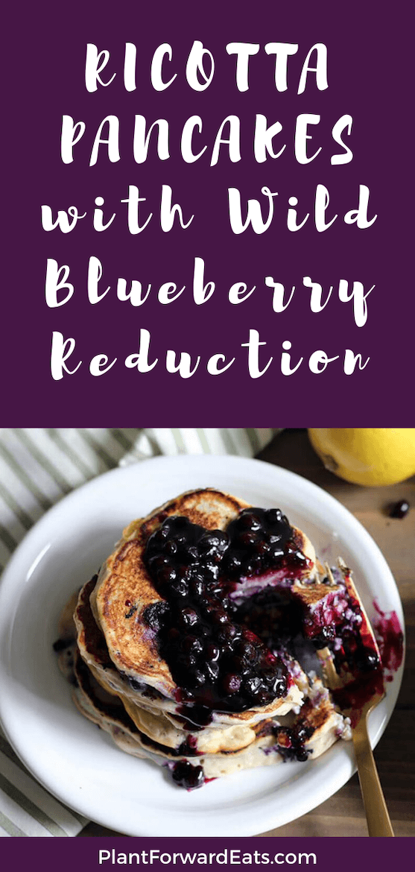 How about an easy, healthy blueberry lemon ricotta pancake recipe? #ricottapancake #wildblueberries