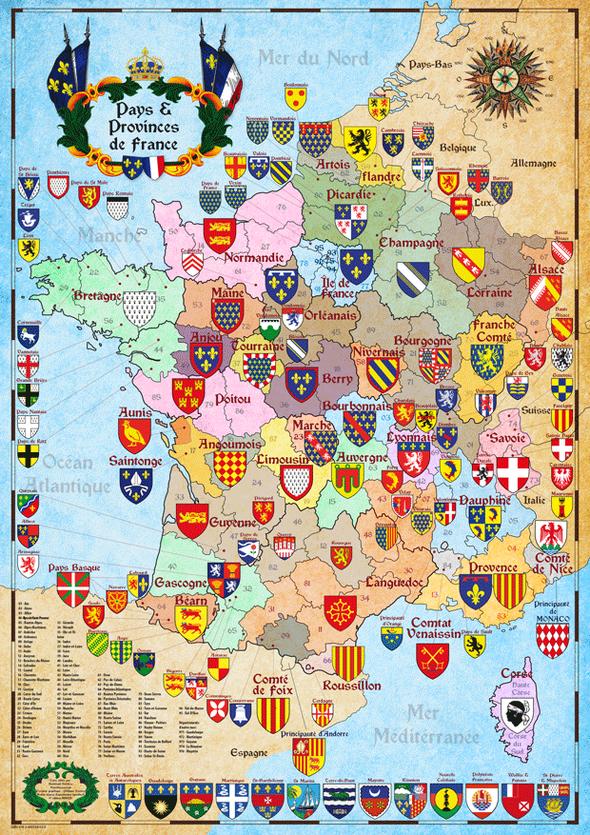 carte historique des pays et provinces de france et leur blason