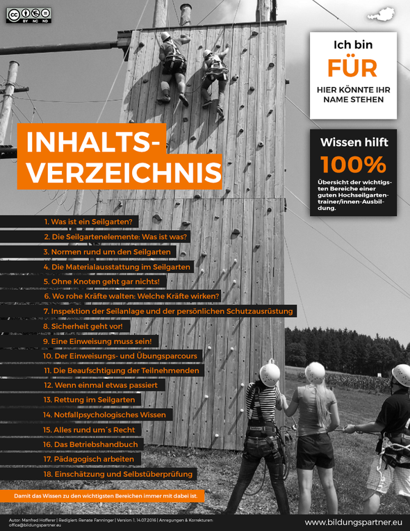Inhaltsverzeichnis der Hochseilgartentrainerausbildung der Bildungspartner Österreich
