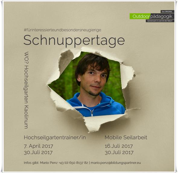 Schnuppertage zu den Themen Hochseilgarten und Mobile Seilarbeit