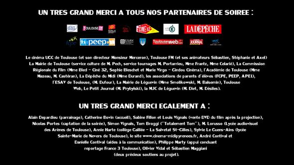 La liste des partenaires ayant soutenu l'évènement à l'UGC de Toulouse
