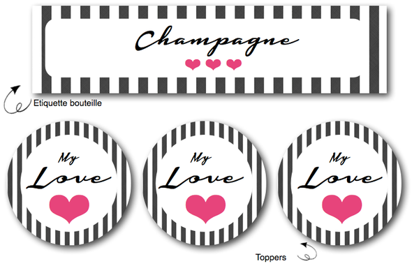 free printable etiquettes toppers table valentin day saint valentin