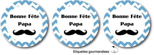 free printable etiquettes fête des pères moustache chevron bleu toppers cupcakes rond
