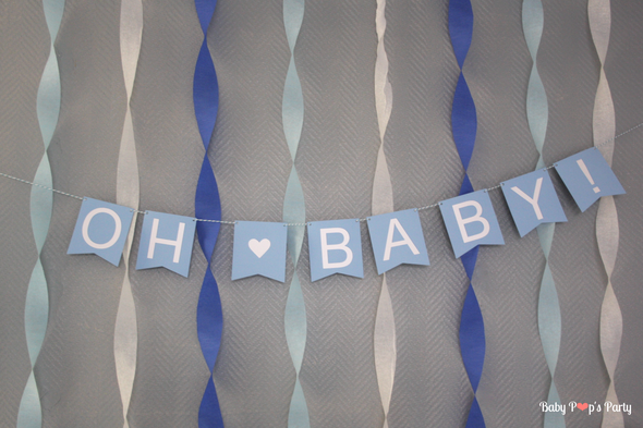 baby shower boy garçon moustache bleu blanc gris sweet table guirlande Oh baby personnalisée