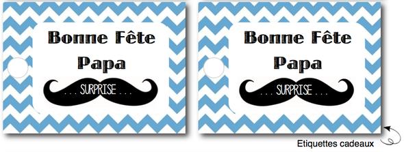 free printable etiquettes fête des pères moustache chevron bleu cadeaux suprise gift present