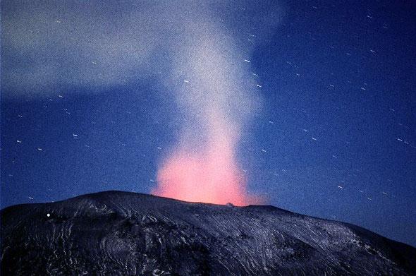 浅間山 火映現象  こんな写真を撮るのも楽しみのひとつ