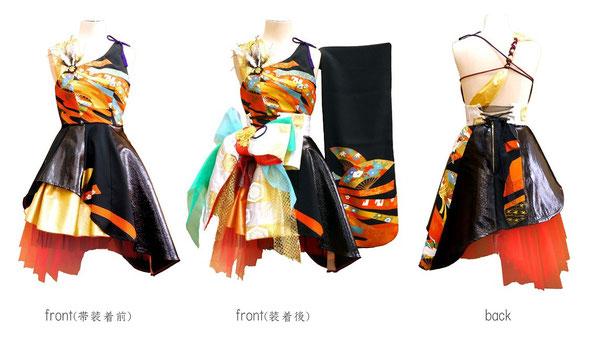 留袖で製作したミニドレス