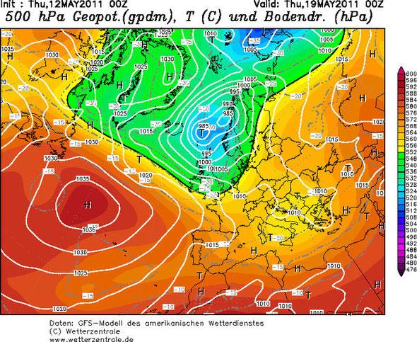 Abb. 1 | 500 hPa Geopotential Beispielkarte für Europa vom 19. Mai 2011 um 00 UTC | Kartenquelle: www.wetterzentrale.de