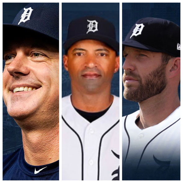 AJ Hinch, manager, George Lombard, bench coach, e Chris Fetter pitching coach