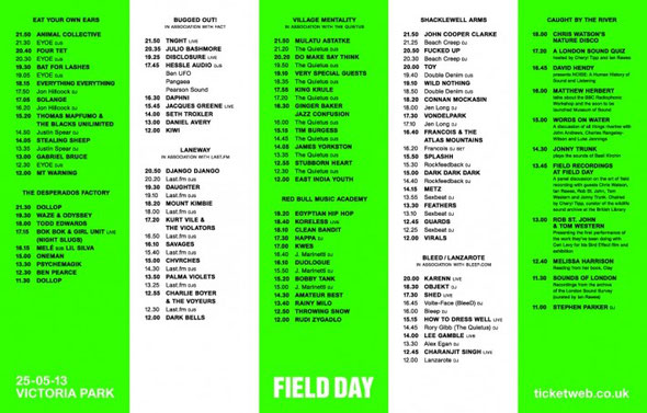 Field Day set times