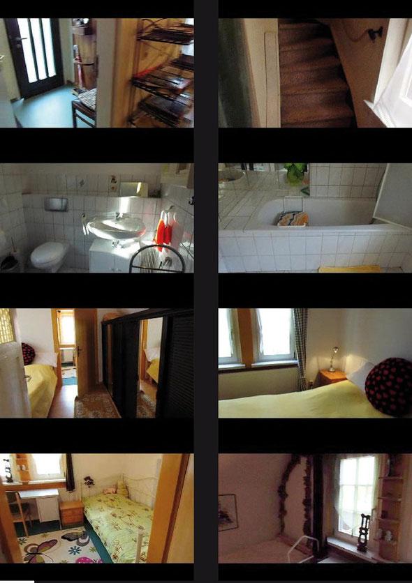 Das Obergeschoss der Ferienwohnung mit dem Bad, kleinem Schlafbereich mit Doppelbett und dem Durchgang zum Schlafbereich mit zwei schmalen Einzelbetten.