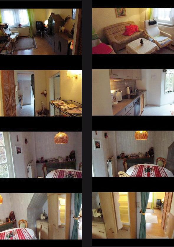 Das Erdgeschoss der Ferienwohnung mit kleinem Wohnzimmer, Küche, Essbereich und Zugang zur Terasse