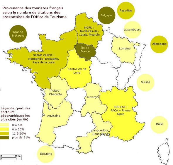 Provenance des touristes français selon le nombre de citations des prestataires de l'Office de Tourisme