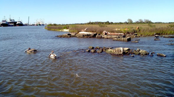 Tim Osborn/National Oceanic and Atmospheric Association -  Rising sea levels near Leeville, La., during the past 100 years have left this 1905 cemetery entirely underwater.