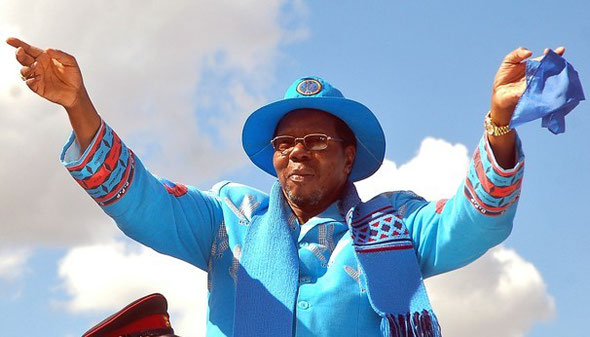 AMOS GUMULIRA/AFP/GETTY IMAGES -  Malawi's President Bingu wa Mutharika waves to supporters of his party in 2009 in Lilongwe during an electoral campaign. Mutharika died early on April 6 hours after the 78-year-old suffered a heart attack