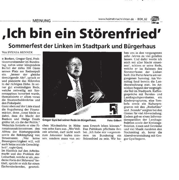 Bericht Sommerfest, Heimatnachrichten
