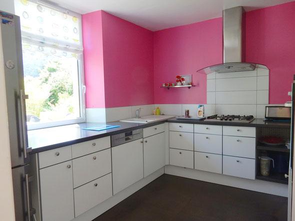cuisine moderne grise et blanc, lave vaisselle, combiné frigo congélateur, lumineuse et pratique