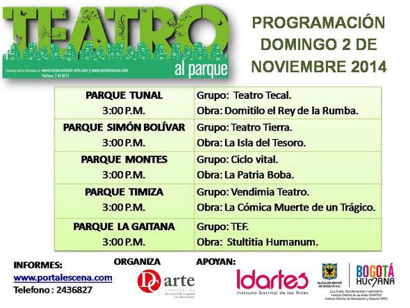 Programación Teatro al Parque 2 de noviembre