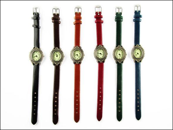 Armbanduhr mit Kunstlederarmband 6 Farben, ovales Ziffernblatt