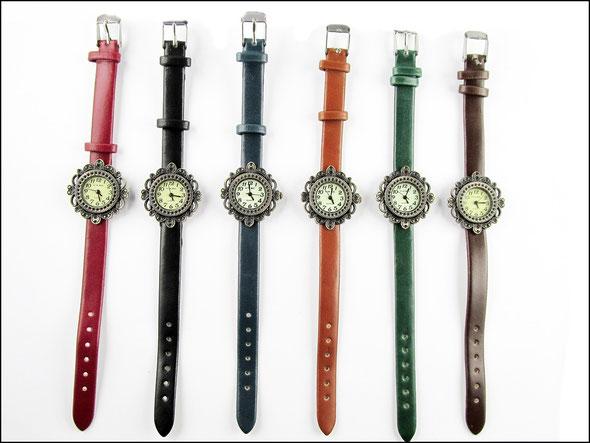 Armbanduhr mit Kunstlederarmband 6 Farben, rundes Ziffernblatt
