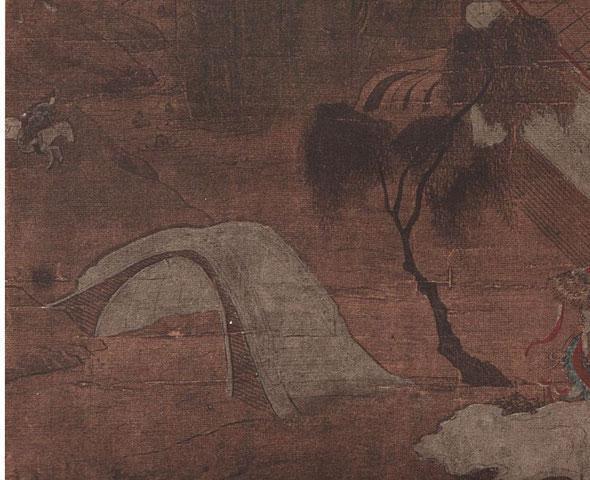 Le palais Kieou-tcheng par Li Tchao-tao. (VIIIe s.). Détail 2. Édouard Chavannes et Raphaël Petrucci : La peinture chinoise au musée Cernuschi en 1912. Ars Asiatica I, Van Oest, Bruxelles et Paris.