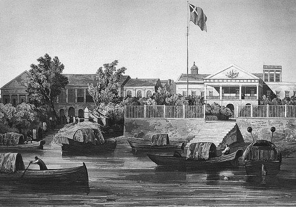 Factorerie à Canton. C. Laplace (1793-1875) : la CHINE, dans : Voyage autour du monde sur la Favorite (1830-1832). Et de : Campagne de circumnavigation de la frégate l'Artémise (1837-1840).