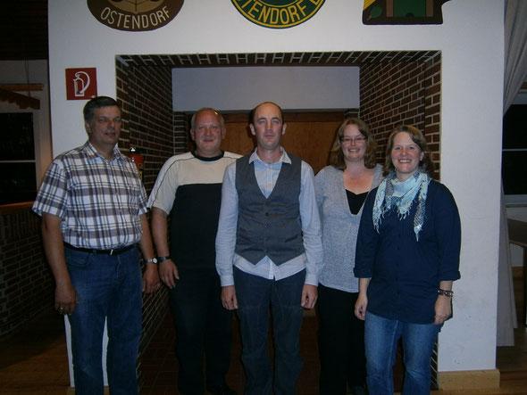 Der neue Vorstand im Jahre 2012, von links Enno Buck, Stefan Vogel, Vorsitzender Michael Quell, Martina Tiedemann und Kristin Matthias