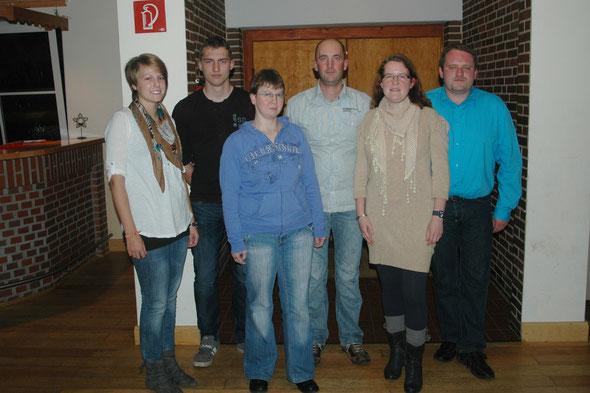 Der Vorstand 2012: v.l. Maren Lütje, Jannek Balk, Marita Schade, Michael Quell, Jennifer Quell, Bernd Quell