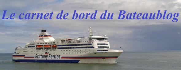 """Le Normandie arrivant à Ouistreham illustre """"Le carnet de bord du Bateaublog"""""""