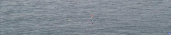 Une bouée de casiers vue à babord. On voit très bien le courant qui pousse un peu le Bretagne (© lebateaublog 2012)