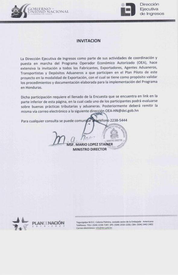 Encuesta Operador Economico Autorizado Honduras
