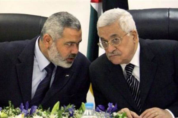 Photo of Mahmoud Abbas and Ismail Haniya