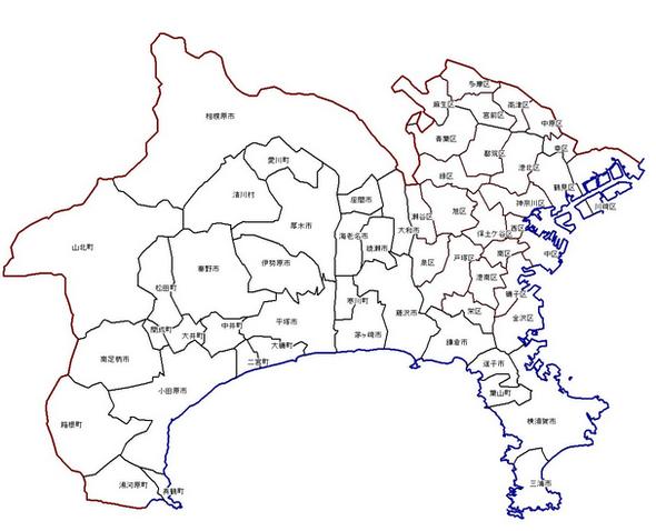 神奈川県市町地図