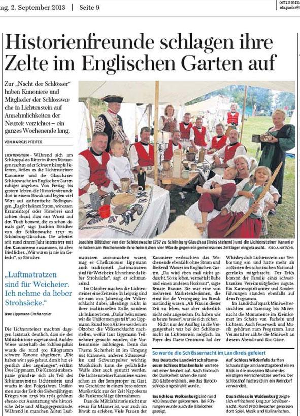 Freie Presse vom 02.09.2013