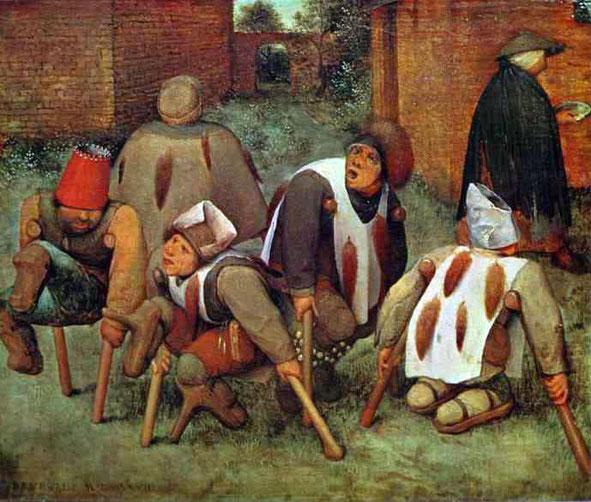 《5人の不具者と1人の乞食女》,1568年