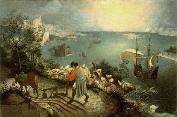 《イカロスの墜落のある風景》,1560年頃