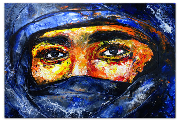Beduinen Mann Tuareg Gesicht handgemalt modern Pouring Acrylgemälde