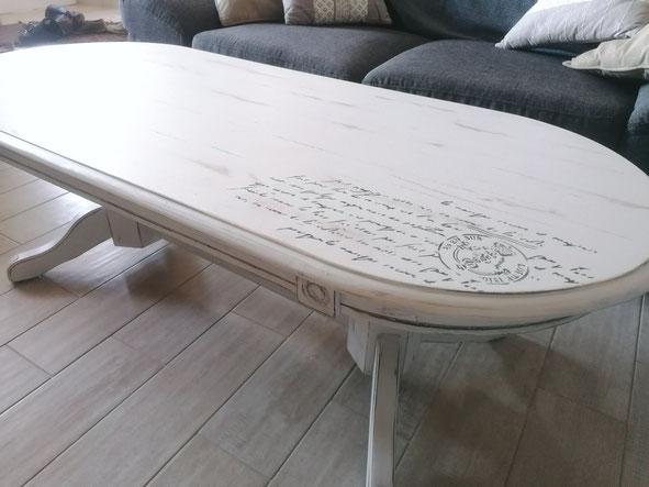 relooking de meuble le mans sarthe table basse le perche blanc patine